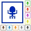 Office chair flat framed icons - Office chair flat color icons in square frames on white background