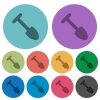 Shovel darker flat icons on color round background