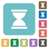 Hourglass rounded square flat icons - Hourglass white flat icons on color rounded square backgrounds