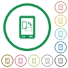 Change mobile display orientation flat icons with outlines - Change mobile display orientation flat color icons in round outlines on white background