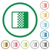 Color gradient flat icons with outlines - Color gradient flat color icons in round outlines on white background