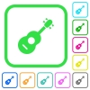 Acoustic guitar vivid colored flat icons - Acoustic guitar vivid colored flat icons in curved borders on white background