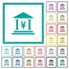 Yen bank office flat color icons with quadrant frames - Yen bank office flat color icons with quadrant frames on white background