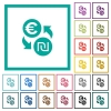 Euro new Shekel money exchange flat color icons with quadrant frames - Euro new Shekel money exchange flat color icons with quadrant frames on white background