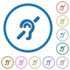 Hearing impaired flat color vector icons with shadows in round outlines on white background - Hearing impaired icons with shadows and outlines