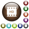 HD movie format color glass buttons - HD movie format white icons on round color glass buttons