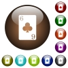 Six of clubs card color glass buttons - Six of clubs card white icons on round color glass buttons