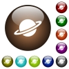 Planet color glass buttons - Planet white icons on round color glass buttons