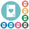 King of hearts card flat round icons - King of hearts card flat white icons on round color backgrounds