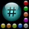 Hash tag icons in color illuminated glass buttons - Hash tag icons in color illuminated spherical glass buttons on black background. Can be used to black or dark templates