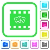 Theatrical movie vivid colored flat icons - Theatrical movie vivid colored flat icons in curved borders on white background