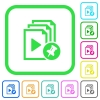 Pin playlist vivid colored flat icons - Pin playlist vivid colored flat icons in curved borders on white background