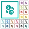 Dollar new Shekel money exchange flat color icons with quadrant frames - Dollar new Shekel money exchange flat color icons with quadrant frames on white background
