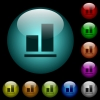 Align to bottom icons in color illuminated glass buttons - Align to bottom icons in color illuminated spherical glass buttons on black background. Can be used to black or dark templates
