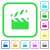Clapperboard vivid colored flat icons - Clapperboard vivid colored flat icons in curved borders on white background