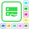 Shared drive vivid colored flat icons - Shared drive vivid colored flat icons in curved borders on white background