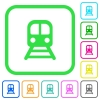 Train vivid colored flat icons - Train vivid colored flat icons in curved borders on white background