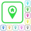 Home address GPS map location vivid colored flat icons - Home address GPS map location vivid colored flat icons in curved borders on white background
