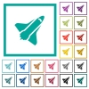 Space shuttle flat color icons with quadrant frames - Space shuttle flat color icons with quadrant frames on white background