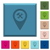Workshop service GPS map location engraved icons on edged square buttons in various trendy colors