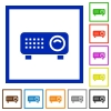 Video projector flat framed icons - Video projector flat color icons in square frames on white background