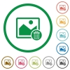 Delete image flat icons with outlines - Delete image flat color icons in round outlines on white background
