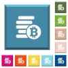 Bitcoins white icons on edged square buttons - Bitcoins white icons on edged square buttons in various trendy colors