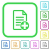 Add new document vivid colored flat icons - Add new document vivid colored flat icons in curved borders on white background