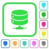 Network database vivid colored flat icons in curved borders on white background - Network database vivid colored flat icons