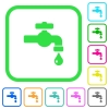 Water faucet with water drop vivid colored flat icons - Water faucet with water drop vivid colored flat icons in curved borders on white background