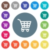 Shopping cart flat white icons on round color backgrounds - Shopping cart flat white icons on round color backgrounds. 17 background color variations are included.