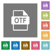 OTF file format square flat icons - OTF file format flat icons on simple color square backgrounds
