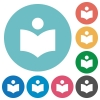 Library flat round icons - Library flat white icons on round color backgrounds