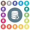 Database cancel flat white icons on round color backgrounds - Database cancel flat white icons on round color backgrounds. 17 background color variations are included.