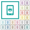 Mobile printing flat color icons with quadrant frames - Mobile printing flat color icons with quadrant frames on white background