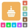 Birthday cupcake rounded square flat icons - Birthday cupcake flat icons on rounded square vivid color backgrounds.