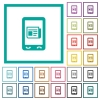 Mobile news flat color icons with quadrant frames - Mobile news flat color icons with quadrant frames on white background