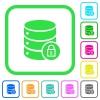Database lock vivid colored flat icons - Database lock vivid colored flat icons in curved borders on white background
