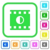 Movie contrast vivid colored flat icons - Movie contrast vivid colored flat icons in curved borders on white background