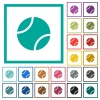 Tennis ball flat color icons with quadrant frames on white background - Tennis ball flat color icons with quadrant frames