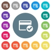 Credit card verified flat white icons on round color backgrounds - Credit card verified flat white icons on round color backgrounds. 17 background color variations are included.