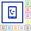 Mobile incoming call flat framed icons - Mobile incoming call flat color icons in square frames on white background