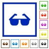 Sunglasses flat framed icons - Sunglasses flat color icons in square frames on white background