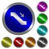 Escalator down sign luminous coin-like round color buttons - Escalator down sign icons on round luminous coin-like color steel buttons