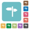 Signpost rounded square flat icons - Signpost white flat icons on color rounded square backgrounds