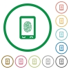 Mobile fingerprint identification flat icons with outlines - Mobile fingerprint identification flat color icons in round outlines on white background