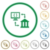 Open banking API flat icons with outlines - Open banking API flat color icons in round outlines on white background