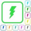 Lightning vivid colored flat icons - Lightning vivid colored flat icons in curved borders on white background