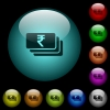 Indian Rupee banknotes icons in color illuminated glass buttons - Indian Rupee banknotes icons in color illuminated spherical glass buttons on black background. Can be used to black or dark templates