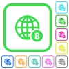 Online Bitcoin payment vivid colored flat icons in curved borders on white background